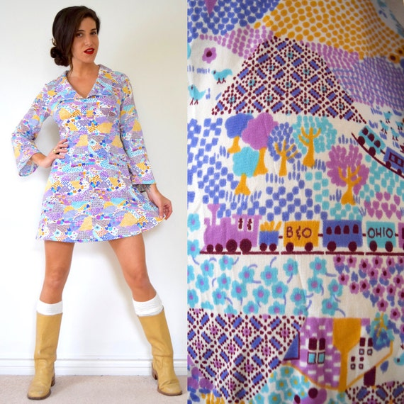 SPRING SALE/ 20% off Vintage 60s 70s Country Train Novelty Print Bell Sleeve Empire Waist Mini Dress (size small, medium)
