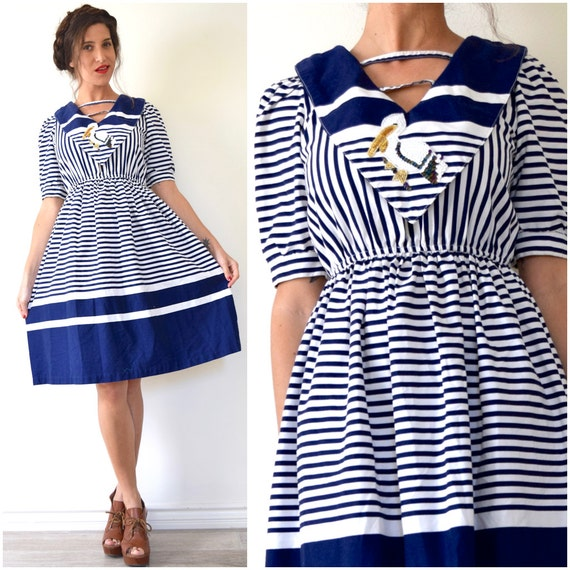 Vintage 80s does 50s Pelican Cove Navy and White Striped Cotton Sailor Collar A Line Fit and Flare Dress (size small,medium)
