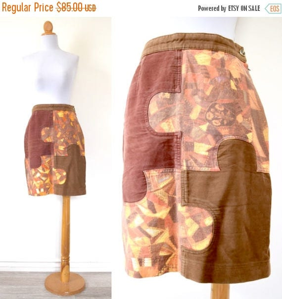 SPRING SALE / 30% off Vintage 80s 90s MOSCHINO Jeans Patchwork Puzzle Piece Pencil Skirt (size medium, large)