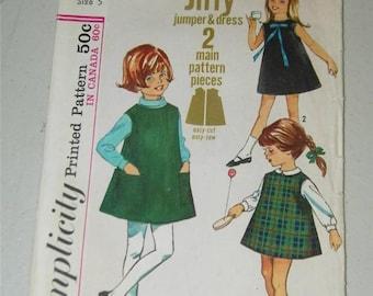 Vintage Girls Dress Pattern 6113 Size 5 12659 Jumper Sleeveless