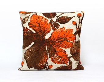 Modern Retro Cushion Cover, Throw Pillow, Orange Pillow Case, Botanical Pillow, Designer Pillow, Handmade Modern Home decor by EllaOsix