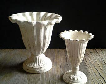 2 Distressed White Cast Iron Vases Urns Planters Chippy Shabby