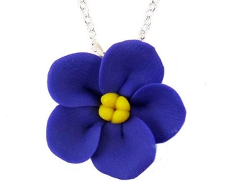 Purple African Violet Necklace - African Violet Jewelry, African Violet Flowers