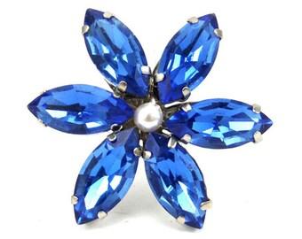 Sapphire Blue Rhinestone Flower Hair Pin  - Blue Crystal Hair Flower, Something Blue, Blue Jeweled Flower Hair Pin, Blue Wedding Hair Pin
