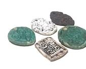 Ceramic Pendants 5 Rustic Large Ancient Stoneware Fantasy Mix Magical Tribal Ethnic Celtic Mystical Metaphysical Textured Fairy Patina