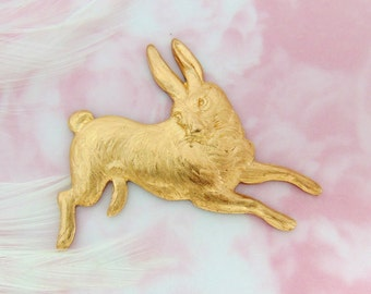 Closeout * BRASS Vintage RABBIT Stampings  - Jewelry Ornament Findings ~ Brass Stamping (CA-3035)