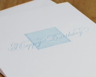 Happy Birthday Letterpress Card, calligraphy birthday card, note card, cotton card, handwritten calligraphy, blue and white