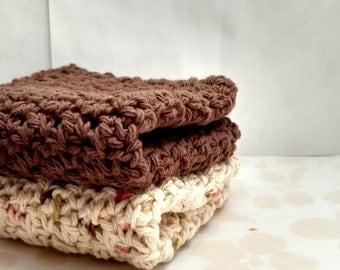 Cotton Crochet Wash Cloths / Dish Cloths, Ivory, Green, Brown, Russet, Handmade Washcloths / Dishcloths,  Eco Friendly Cleaning Bathing