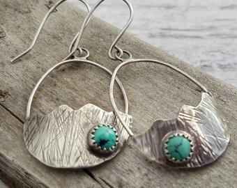Turquoise Dangle Sterling Silver Earrings, Boho Cowgirl Style Jewelry, Drop Earrings