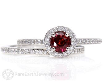 Ruby Engagement Ring and Wedding Band Ruby Ring Diamond Halo 14K or 18K Gold July Birthstone Bridal Set  Red Gemstone Ring