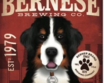 Set of 4 Bernese Mountain Dog Berner brewing company dog beer coasters with cork backing