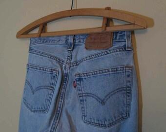 Distressed 501 Levis Faded 501 Levis Vintage Blue denim Levis 501 US made workwear button front Levis Boyfriend Levi jeans 28 34