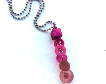 Pink ombré Vintage Button and Bead Pendant