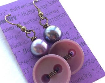 Purple Violet Vintage Button Earrings