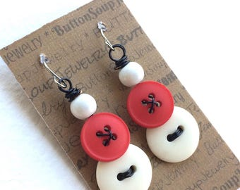 Badger Red and White Vintage Button Earrings with black