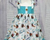 Summer Girl Dress  Made with Moana Fabric,  Aqua Dress , Girls Dresses,  Girl Sun Dress, White and Aqua Girl Dress, Party Dress, Polka Dots