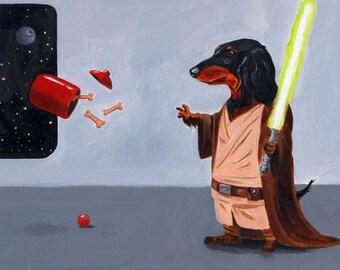 Jedi Dachshund art, dachshund gift, Dachshund wall decor, Dachshund art Print by Brian Rubenacker
