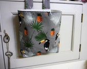 Thread Catcher -  Craft Caddy-  Tucan Bird Print - Cotton -  Handmade