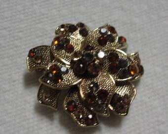 Sparkling Brown Grey  Rhinestone Gold Tone  Flower Brooch
