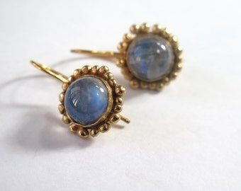 Moonstone Earrings, Gold Rainbow Moonstone Drop Earrings, Dangle Gold Earrings