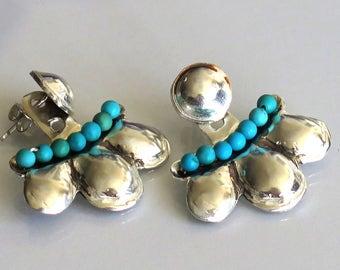 Boho Bohemian Earrings, Boho Turquoise Earrings, Mint Earrings, Boho Ear Cuffs, Oriental Earrings, Turquoise Ear Jackets, Artistic Earrings