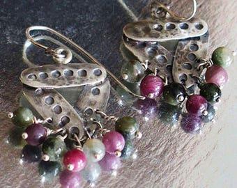 Silver Stone Earrings, Triangle Dangle Earrings, Drop Stone Earrings, Triangle Drop Earring, Silver Triangle Earrings, Silver Earrings Agate
