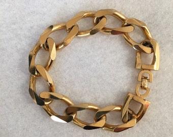 Vintage Christian Dior Bracelet Link Shiny Gold Tone Chunky Modernist Unisex