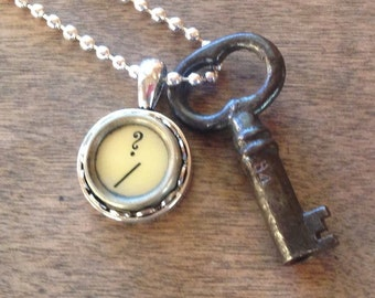Skeleton Key Necklace Typewriter Key Question Mark Vintage Steampunk
