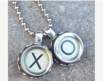 SALE Typewriter Key Necklace, Reclaimed jewelry, Vintage Ivory Hugs and Kisses