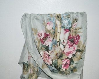 SALE- Vintage Echo silk scarf-floral scarf -Pastel colors