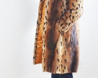 SALE- vintage Leopard print fur coat  muskrat fur coat