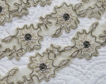 Exquiste Antique Rose Motif Lace Trim...Silver Metal Chains, Metal Snaps, Silk Gimp, Pearls...Vintage Lace Flower Embellishments, Appliques