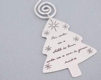 For Unto Us a Child is Born Ornament - Christmas Tree Ornament