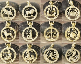 Choose your zodiac pendant in solid gold - All 12 signs available - White gold, rose gold, yellow gold - 10kt 14kt or 18kt - 1 inch round