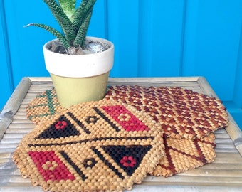 SALE FREE SHIPPING Vintage Set Of 4 Bamboo Beaded Trivets Bamboo