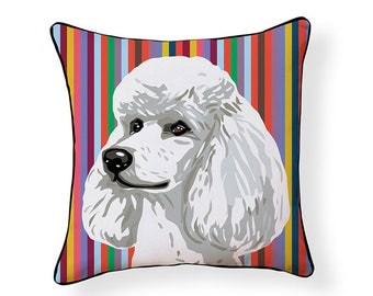 Pooch Decor: White Poodle Indoor/ Outdoor Pillow