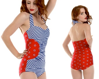Gloria Swimsuit in Red Lifering Print with Navy and White Stripes XS only!!