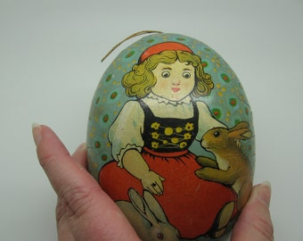 Vintage Easter Paper Mache Egg HALF ONLY Doll with Bunnies
