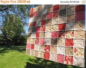 CHRISTMAS SALE Red, Pink, Green Floral Rag Quilt - Cottage Style - Large Lap Quilt