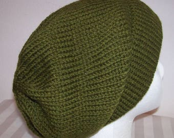 Wool Ski Hat - Slouchy Knit Beanie - Knitted Hipster Toque - Skateboard Beanie- Hand Knit Hat - Olive Green