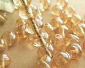 Lumi Champagne Baroque Snail Czech Glass Beads Amber Crystal Bumpy Round 6mm (25)