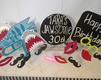Shark birthday photo props medium party package