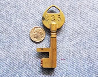 Brass Vault Lock Key Number 225 Patent 1884 Skeleton Key Antique Bank Safe Deposit Box Hardware