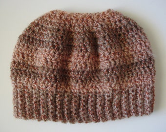 Autumn Changing Colors Messy Bun Beanie Ponytail Hat Acrylic/Wool Blend READY TO SHIP!