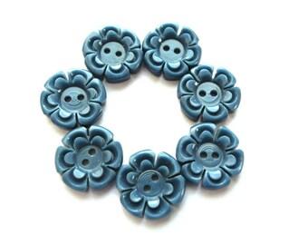 6 Buttons flowers, vintage antique flowers plastic 15mm,dark blue , RARE