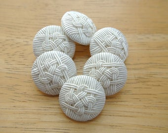 6 Vintage buttons made of white threads on plastic base 24mm