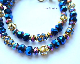 Chocker necklace, can be bracelet, made of antique vintage Swarovski and new glass beads