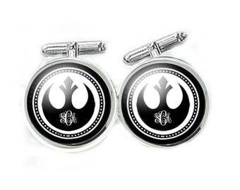 Rebel Monogram Cufflinks, Gift for Men, Wedding Cuff links, Groom Cufflinks, Star Wars