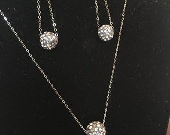 Pave style Swarovski crystal floating ball Earrings and Necklace SET