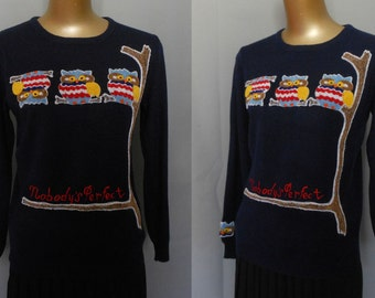 Vintage 70s Ribbed Pullover Owl Sweater, 1970s 3-D Embroidered Round Neck Jumper, Size S to M Small to Medium